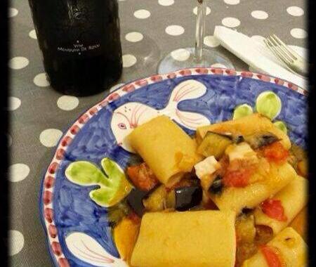 Falanghina del Sannio Capa Fresca e pacchero pesce spada e melenzane